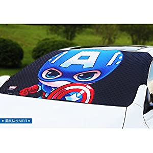American Captain Windshield Sun Shade - Windshield Snow Cover - Frost Windshield Cover - Multi use in Summer and Winter - Door Flaps Windproof Fits Most Car, SUV, Truck, Van