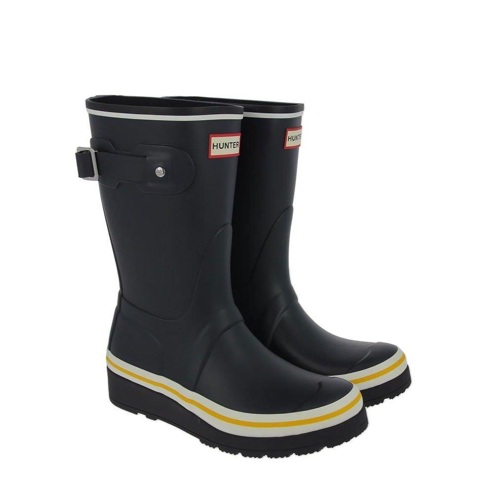 d4eef610b9c7 Hunter Original Short Wedge Sole Wellies Buoy Stripe Navy Black White  Sowester UK7 Navy  Amazon.co.uk  Shoes   Bags