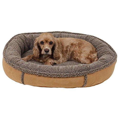 1 Piece Tan Brown Medium 36 Inches Bolster Round Comfort Pet Bed, Light Brown Color Comfy Cup Style Indoor Bed For Puppy Dog, Raised Sides Joints Support Removable Cover, Loft Polyester Faux (Berber Comfy Cup)