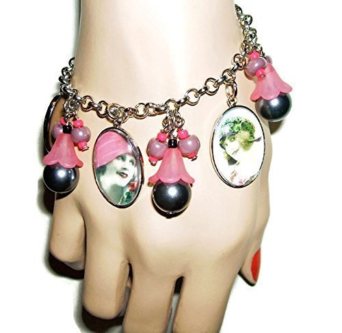FLAPPER GIRLS Charm Bracelet Silver Plated Altered Art Vintage Photos