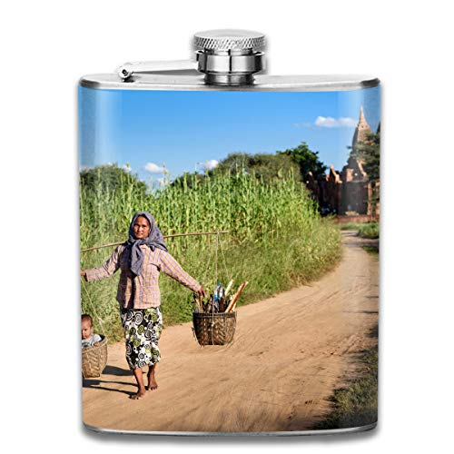 Silhouette of Grass Bush with Birds Flying On Sky Fashion Portable Stainless Steel Hip Flask Whiskey Bottle for Men and Women 7 Oz