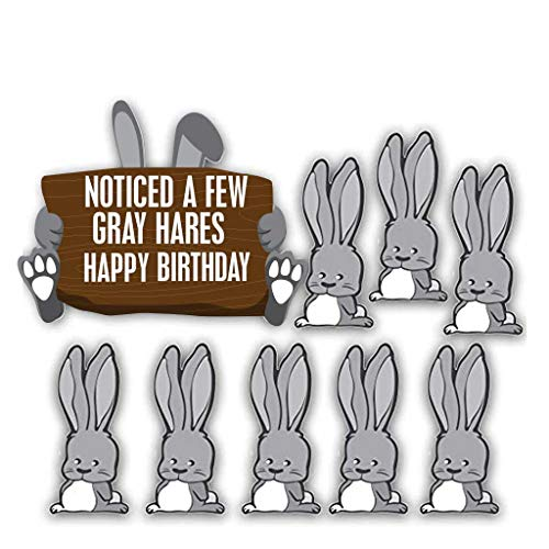 VictoryStore Yard Sign Outdoor Lawn Decorations: Birthday Yard Decoration: Noticed A Few Gray Hares Happy Birthday