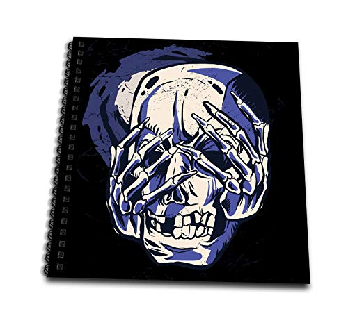 3dRose Sven Herkenrath Fantasy - Skull Head with Skeleton Hands Face Halloween - Drawing Book 8 x 8 inch (db_316719_1)