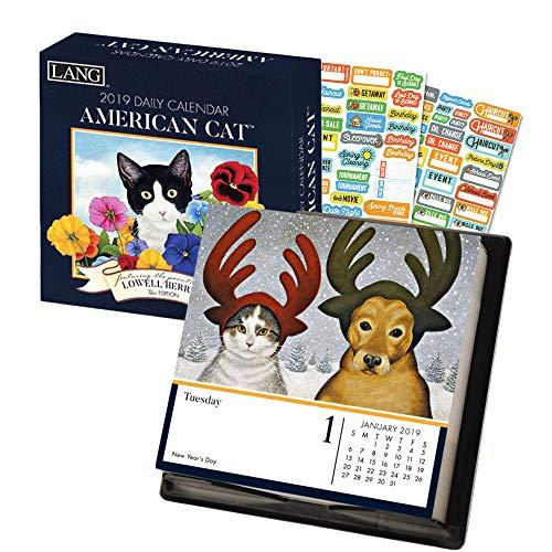 (Lang American Cat Calendar 2019 Set - Deluxe 2019 Cat Calendar Page a Day Lang Lowell Herrero Cat Box Calendar Bundle with Over 100 Calendar Stickers (Lang Desk Calendar))
