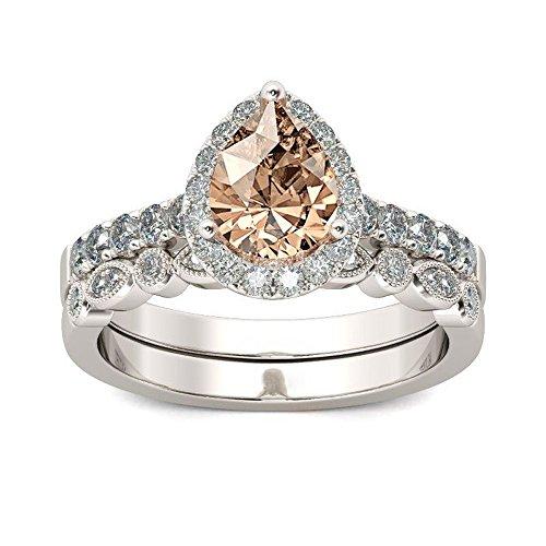 Halo Teardrop Pear Simulated Diamond Cubic Zirconia Bridal Ring Size 6-10 by Kimloog (7, Champagne)