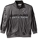 MLB Chicago White Sox Men's Team Reflective Tricot Track Jacket, 2X/Tall, Charcoal/Black