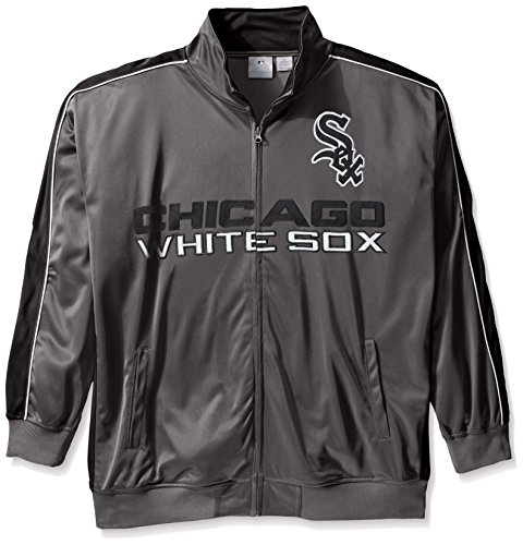 MLB Chicago White Sox Men's Team Reflective Tricot Track Jacket, 3X/Tall, - Chicago Sox Jacket Track White
