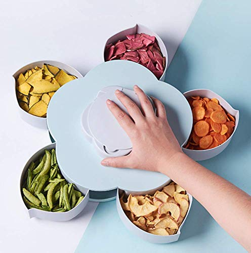 Sectional Candy Dish - LFHT Multi Sectional Nuts and Candy Snack Serving Tray with Lid - Rotating Dried Fruit Dish (Blue)