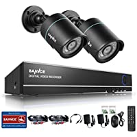 SANNCE 4CH 720P DVR Video Security System and (2) 1.0MP 1280TVL Weatherproof Bullet Cameras, Super Day/ Night Vision, NO HDD