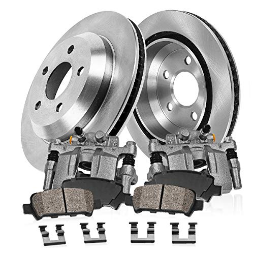 REAR OE [2] Calipers + [2] 6 Lug Rotors + Quiet Low Dust [4] Ceramic Pads Kit
