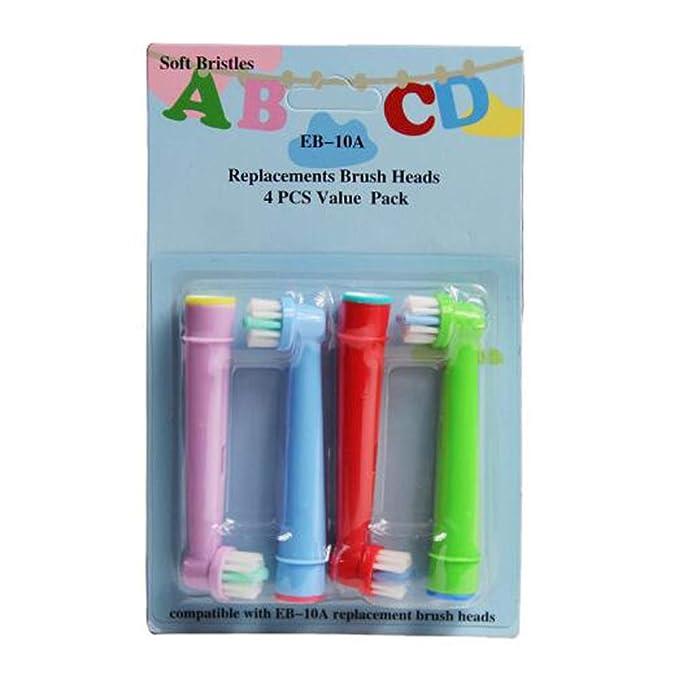 4 (1 x 4) cabezales de repuesto para cepillo de dientes eléctrico para niños de hofoo® para Oral-B eb-10 a Color al azar: Amazon.es: Salud y cuidado ...