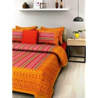 SonaFashionS Cotton Printed Rajasthani Double Bedsheet with 2 Pillow Covers -Multicolour