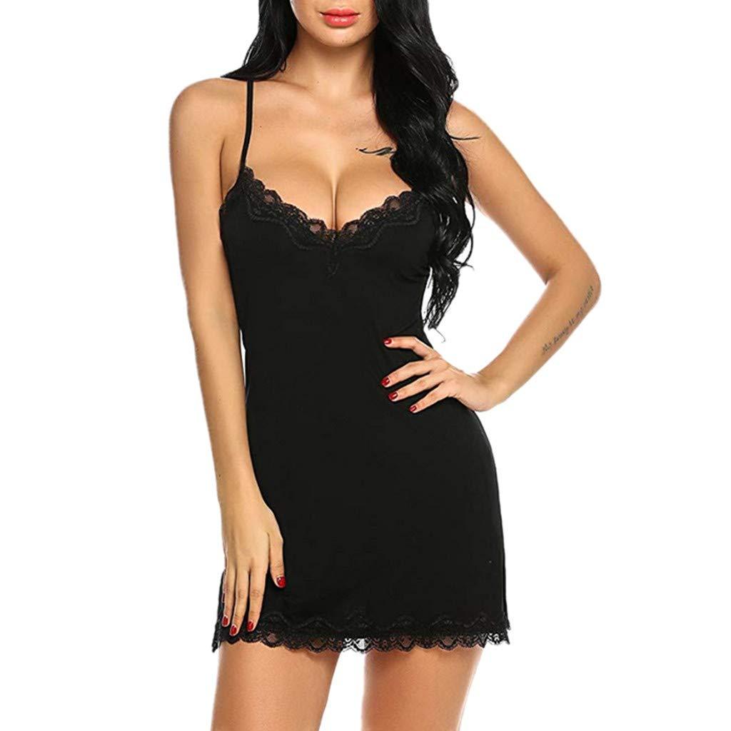 Libermall Sexy Lingerie for Women Lace Strappy V Neck Sheer Chemise Babydoll Underwear Bodysuit Teddy Sleepdress Black
