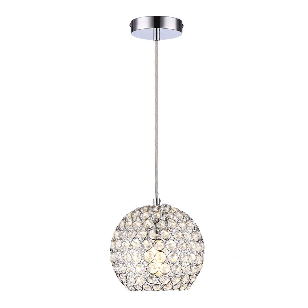 Wtape 1-Light Crystal Mini Semi-Circle Pendant Lighting,Decorative Chandelier with 55'' Adjustable Cord for Kitchen Island, Dining Room, Bedroom, Living Room,Hotels and Shops