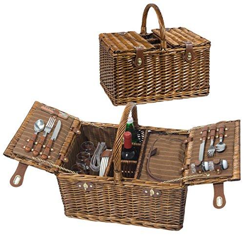Großes Luxus-Picknickkorb-Set für 4 Personen - Inkl. Fleecedecke mit Namen - Mit individuellem Stick