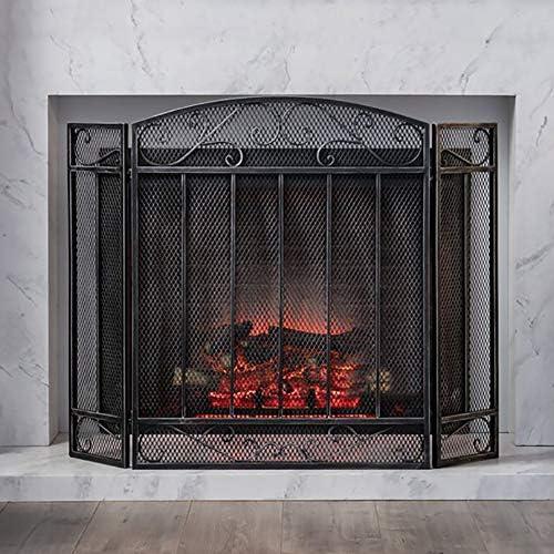 暖炉スクリーン MYL アーチ型の3-パネル折りたたみ暖炉スクリーン - 錬鉄ブラックメタル暖炉立ち門リビングルームスパークガードインテリア (Color : Black)