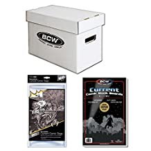 Bundle - 3 items: BCW Short Comic Book Storage Box with Lid, 100 Comic Book Boards & 100 Resealable Comic Bags