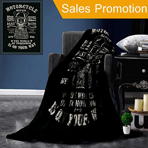 Somisi Unique Custom Flannel Blankets Retro Design Motorcycle Repair Fast Ride for Poster Or T Shirt Print with Biker Skull and Super Soft Blanketry for Bed Couch, Throw Blanket 50