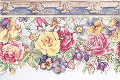 Cream Stone Blue Yellow Red Floral Wallpaper Border