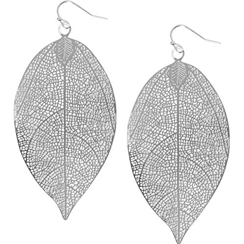 (Humble Chic Filigree Leaf Earrings - Lightweight Cutout Oversized Drop Dangles, Silver-Tone Flat Leaf)
