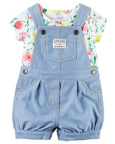 Carter's Baby Girl 2-Piece Top & Shortalls Set (Light denim blue, Newborn)
