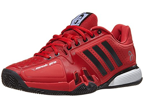 adidas Men's Novak Pro Clay Tennis Shoe, Real Red, Core Black, FTWR White, 11.5 M US - Pro Clay