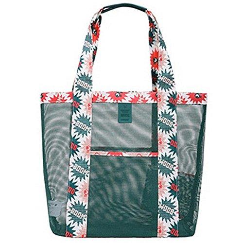 Mesh Strand Tasche Übergroße Taschen Spielzeug Einkaufstasche Einkaufstasche Einkaufstasche (L),Grün