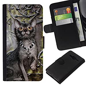 All Phone Most Case / Oferta Especial Cáscara Funda de cuero Monedero Cubierta de proteccion Caso / Wallet Case for Samsung Galaxy Core Prime // Lykoi Cat Art Proud Royal Necklace