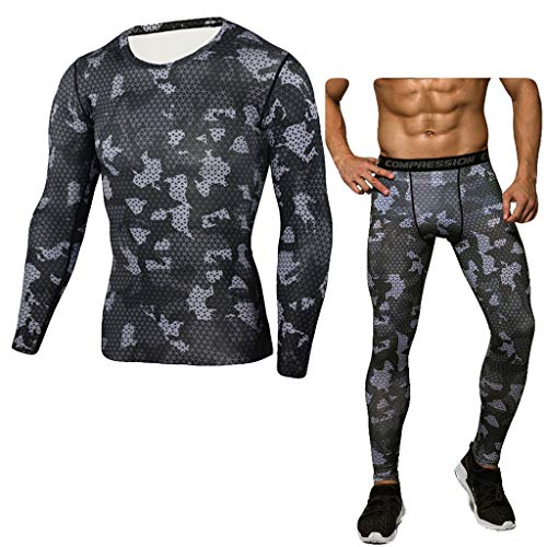 Camouflage Sports Suit Men Tight Bodybuilding T-Shirt Fast Drying Tops+Pants