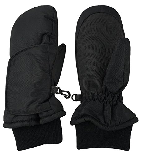 NIce Caps Kids and Baby Easy On Wrap Waterproof Thinsulate Winter Snow Mitten (Black 3, 2-3 Years)