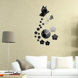 Clocks - Butterfly Mirror Wall Decor Stickers Mirrors Plastic Diy For Decals Murals Bathroom Butterflies Sticker Kids Creative Vinyl Removable Metal Burst Donut Mirrored - 1PCs