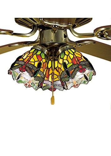 Meyda Tiffany Dragonfly Tiffany Shade - Meyda Tiffany 27472 Tiffany Hanging Head Dragonfly Fan Light Shade, 4