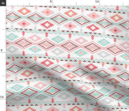 Spoonflower Southwestern Style Fabric - Southwestern Style Aztec Kilim Baby Crib Navajo Indian Buffalo and Gecko Tribal Pattern by Gabriellemutel Printed on Petal Signature Cotton Fabric by The Yard