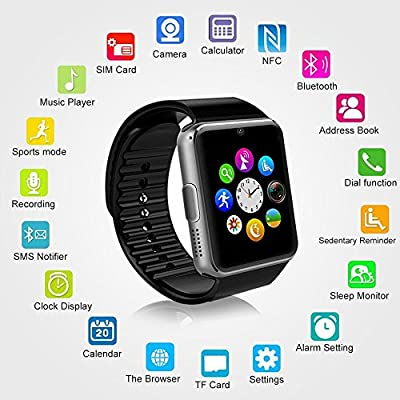 Choigle Sweatproof Smart Watch Phone for iPhone 5s/6/6s(partial Function) and 4.2 Android (All Function)or Above SmartPhones