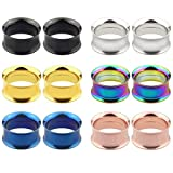 Awinrel 12 Pieces Multi Colors Stainless Steel Double Flare Screw Fit Ear Gauges Tunnel Plugs Expander Eyelet Stretcher Piercing Jewelry 7/8 inch 22mm