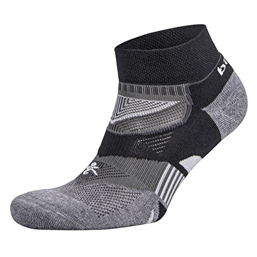 Balega Enduro V-Tech Low Cut Socks For Men and Women (1 Pair) (2017 Model), Black/Grey Heather, Medium