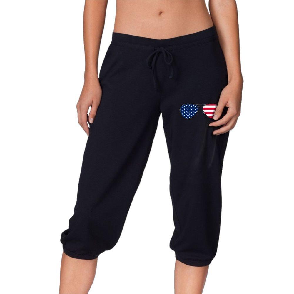 DJ5HN Glasses Patriotic American Flag Womens Casual Jersey Drawstring Pants Workout Knee Pant