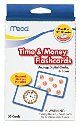 Mead Flashcards, Time and Money, Grades PK-2, 3.62 x 5.25 Inches, 55 Cards (63146)