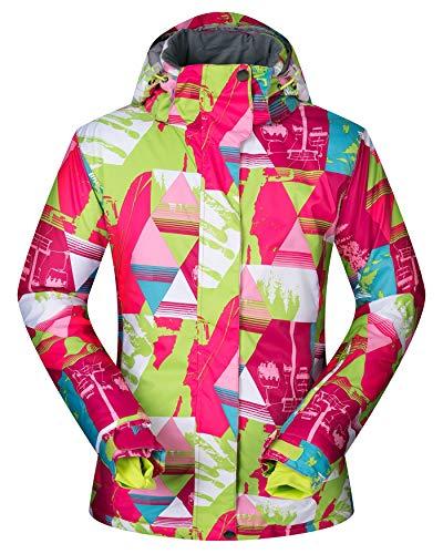 Women's Ski Jacket Outdoor Waterproof Windproof Coat Snowboard Mountain Rain Jacket SJW010 Cable Car XL