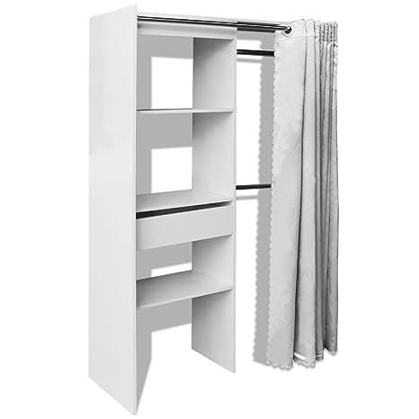 vidaXL Kleiderschrank Vorhang Garderobe Schlafzimmer Schrank B: 121-168cm  Weiß