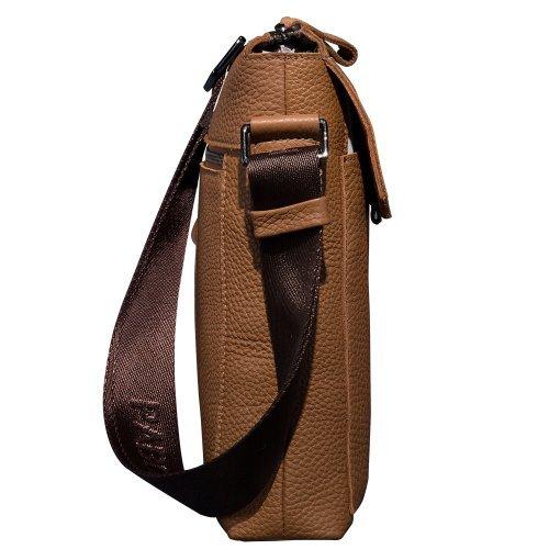 Oneworld Herren Rindleder Messenger Bag Aktentasche Schultertasche Notebooktasche Handtasche Umhängetasche Schultasche 24.5x28x7cm(BxHxT) Kaffee Gelb
