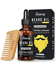Kanzy Beard Oil Grooming Kit for Men - Mustache Growth & Moisturizing Set with Comb - 30ml Scented - Natural & Organic