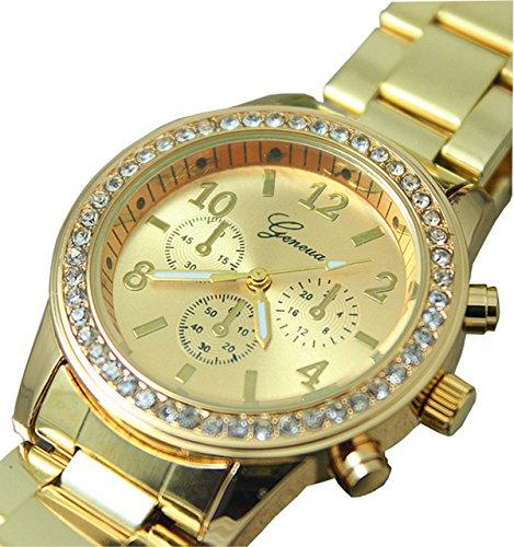 Ledhill Geneva Chronograph Fashion Crystals Gold Tone Metal Link Watch