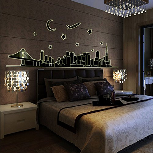 Trendbox PVC Removeable Decorative Art DIY Wall Decor Decal Sticker Paper For Home Bedroon Living Nursery Room Party - Glow: Night In the City