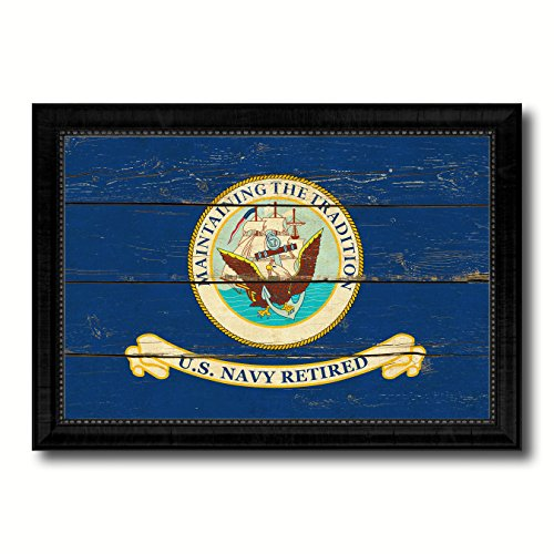 Traditions Wall Photo Frame (US Navy Retired Maintaining The Tradition Naval USN Military Flag Vintage Canvas Print with Black Picture Frame Home Decor Wall Art)