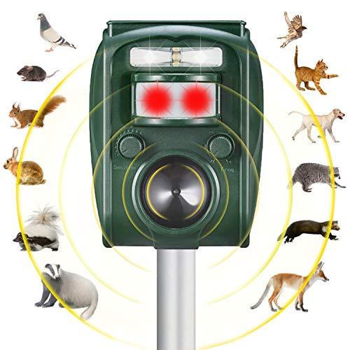 Solar Powered Ultrasonic Animal Repeller |Waterproof Outdoor Animals Repeller|Effectively Scares Away Cats Dogs Squirrels Racoon etc| Motion Activated [2019 Upgraded Version]
