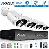 Security Camera System A-ZONE Security 8ch 1080P NVR HD 1080P IP PoE Security Camera System with 4 Outdoor /Indoor 3.6mm Fixed lens 2MP 1080P Cameras, QR Code Easy Setup, Free Remote View-1TB HDD