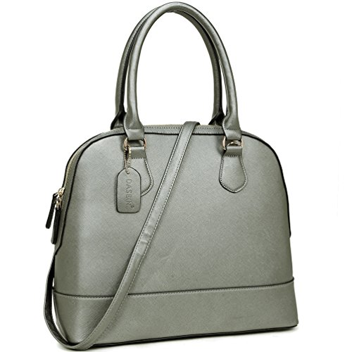 Large Shape silver Shoulder Satchel Bag Dome Shell Handbag Saffiano Leather Top Purse Handle rqrwaUt