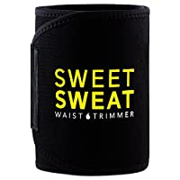 "Corredor de cintura Premium Sports Sweat (logotipo amarillo) de Sports Research para hombres y mujeres. Incluye muestra gratis de Sweet Sweat Gel! (Med: 8 ""Ancho x 41"" Longitud)"