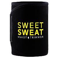 """Corredor de cintura Premium Sports Sweat (logotipo amarillo) de Sports Research para hombres y mujeres. Incluye muestra gratis de Sweet Sweat Gel! (Med: 8 """"Ancho x 41"""" Longitud)"""